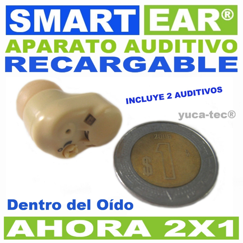 Aparato Auditivo SMART EAR® Recargable 2 X 1 Dentro Del Oído
